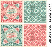 set of 2 vintage cards with... | Shutterstock .eps vector #1210240777