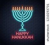 happy hanukkah neon sign on... | Shutterstock .eps vector #1210253731