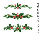 holly decor set | Shutterstock .eps vector #1210259761
