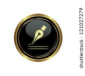 ink pen icon on black with gold ...