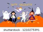 halloween children in halloween ... | Shutterstock .eps vector #1210275391