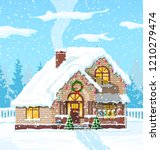 suburban house covered snow.... | Shutterstock .eps vector #1210279474