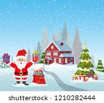 a house in a snowy christmas... | Shutterstock .eps vector #1210282444