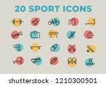 sport icons set in modern...