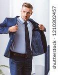 handsome adult man wearing suit ...   Shutterstock . vector #1210302457