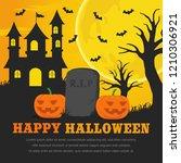 happy halloween background...   Shutterstock .eps vector #1210306921