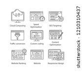 seo linear icons set. cloud... | Shutterstock .eps vector #1210310437