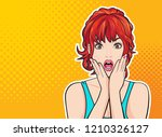 surprised woman face with open... | Shutterstock .eps vector #1210326127