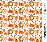 autumn seamless pattern on the... | Shutterstock . vector #1210339321