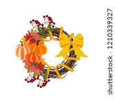 autumn wreath illustration on... | Shutterstock . vector #1210339327