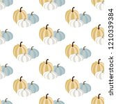 pumpkin seamless pattern on the ... | Shutterstock . vector #1210339384