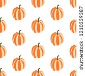 pumpkin seamless pattern on the ... | Shutterstock . vector #1210339387