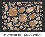 vector set. aroma natural... | Shutterstock .eps vector #1210339804
