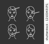 plastic surgery chalk icons set.... | Shutterstock .eps vector #1210343191