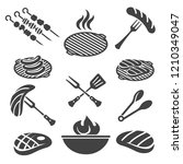 bbq icons. barbecue grill icon... | Shutterstock .eps vector #1210349047