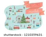 cute merry christmas greeting... | Shutterstock .eps vector #1210359631