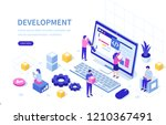 development team at work... | Shutterstock .eps vector #1210367491