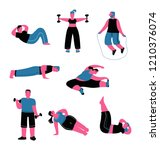 fat characters do exercises for ... | Shutterstock .eps vector #1210376074