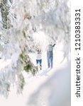 winter fun couple playful... | Shutterstock . vector #1210383331