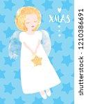 christmas angel greeting card.... | Shutterstock .eps vector #1210386691