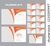 creative calendar for 2019 year.... | Shutterstock .eps vector #1210395997