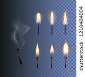 vector set of fire  realistic... | Shutterstock .eps vector #1210404004