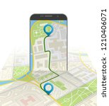 isometry city map route... | Shutterstock . vector #1210406071