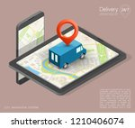 isometry city map navigation... | Shutterstock . vector #1210406074