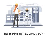 builder engineer phone calling... | Shutterstock .eps vector #1210437607