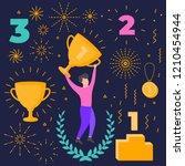 winner objects set. number one. ... | Shutterstock .eps vector #1210454944