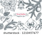 christmas greeting card. hand... | Shutterstock .eps vector #1210457677