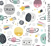 childish seamless pattern with... | Shutterstock .eps vector #1210467124