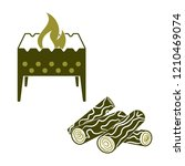 brazier and firewood icon.... | Shutterstock .eps vector #1210469074