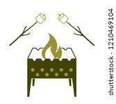 brazier and zephyr icon. vector ... | Shutterstock .eps vector #1210469104
