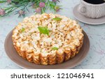 whole cottage cheese pie with apples - stock photo
