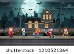children in monster costumes on ... | Shutterstock .eps vector #1210521364