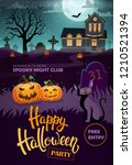 halloween background with black ... | Shutterstock .eps vector #1210521394
