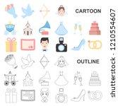 wedding and attributes cartoon... | Shutterstock .eps vector #1210554607