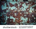 rusty brown cyan blue wall... | Shutterstock . vector #1210573597