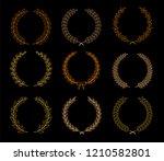 vector laurel autumn wreaths on ... | Shutterstock .eps vector #1210582801