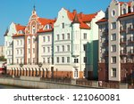 Houses in old style on the waterfront in Kaliningrad. Russia - stock photo