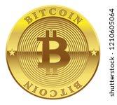 sign of golden coin bitcoin... | Shutterstock . vector #1210605064