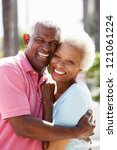 romantic senior couple hugging... | Shutterstock . vector #121061224