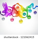 New year abstract background with colorful balls and wave, vector - stock vector