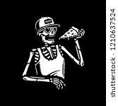 skeleton eating pizza black... | Shutterstock .eps vector #1210637524