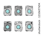 isolated washing machines. flat ... | Shutterstock .eps vector #1210657654