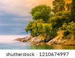 adriatic coast in autumn autumn ... | Shutterstock . vector #1210674997