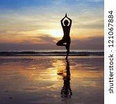yoga on the beach | Shutterstock . vector #121067884