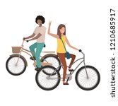 couple with bicycle avatar... | Shutterstock .eps vector #1210685917