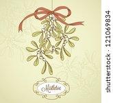 vintage christmas mistletoe | Shutterstock .eps vector #121069834